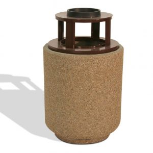 40 Gallon Round Trash Receptacle w/ Ash Tray